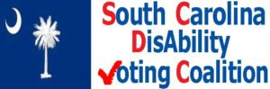 Red, white, and blue logo for the sc disability voting coalition