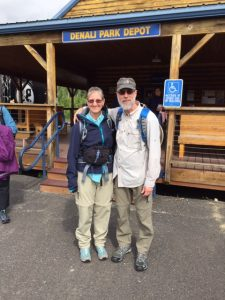 Pete and his wife backpacking
